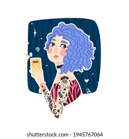 Illustration of cute girl with blue wavy hair. Girl make selfie with phone. Banner to Woman with tattoo and choker. print concept of Informal modern girl. Vector.