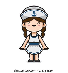 Illustration of cute girl costume sailor vector The Concept of Isolated Technology. Flat Cartoon Style Suitable for Landing Web Pages, Banners, Flyers, Stickers, Cards