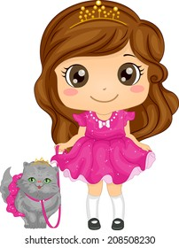 Illustration of a Cute Girl Dressed as a Princess Taking Her Persian Cat for a Walk
