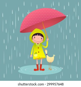Illustration of cute girl and friends with umbrella in rainy season