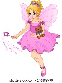 Illustration of a cute girl in a purple dress with fairy wings. Beautiful little princess. Wave a magic wand.