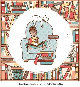 Illustration of a cute girl sitting in a huge armchair with her teddy and her pet cat, reading a book