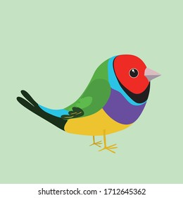 An illustration of a cute goldian finch on a soft green background. It's a male bird.