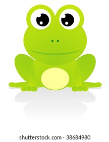 illustration of cute green frog