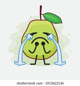 An illustration of Cute Green Guava Fruit Mascot Character