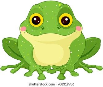 Illustration of cute green toad