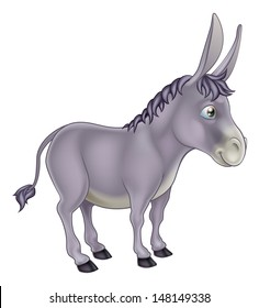An illustration of a cute grey cartoon donkey character