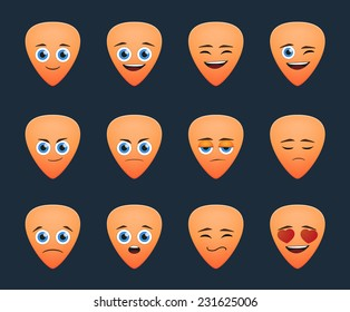 Illustration of a cute guitar pick avatar expression set
