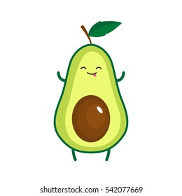 Illustration of cute happy avocado. Vector illustration
