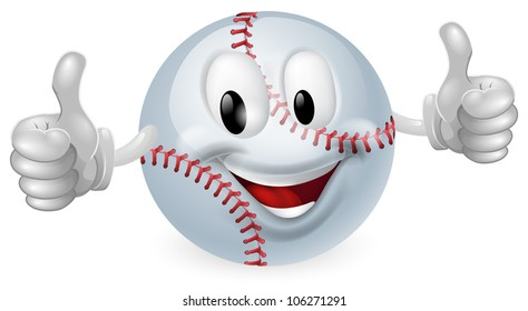 Illustration of a cute happy baseball ball mascot man smiling and giving a thumbs up