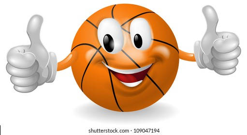 Illustration of a cute happy basketball ball mascot man smiling and giving a thumbs up
