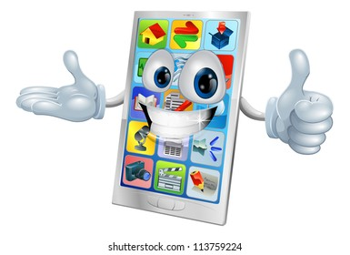 Illustration of a cute happy mobile phone person