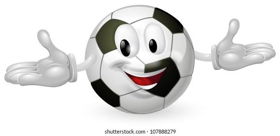 Illustration of a cute happy soccer football ball mascot man