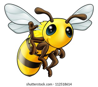 Illustration of a cute happy waving cartoon bee character