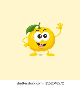 Illustration of cute happy yuzu mascot greeting someone with big smile isolated on light background. Flat design style for your mascot branding.