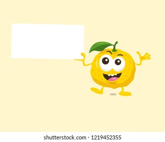 Illustration of cute happy yuzu mascot with offer label in his hand. Isolated on light background.