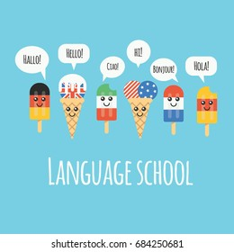 """The illustration of cute ice cream flag of different countries with the word """"Hello"""". Can be used for language school or courses."""