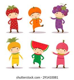 Illustration of cute kids in strawberry, orange, grape, pine apple, watermelon and litchi costumes