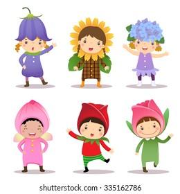 Illustration of cute kids wearing flowers costumes