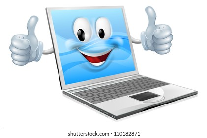Illustration of a cute laptop mascot man giving a thumbs up