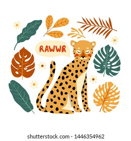 "illustration of cute leopard and different tropical leaves on white background with ""rawwr"" text. Vector illustration of cute cartoon leopard card or poster tamplate with palm and monstera leaves"