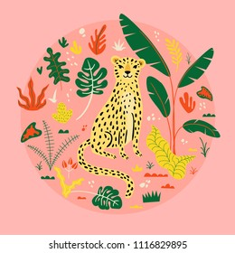 Illustration with cute leopard and tropical plants