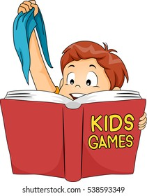 Illustration of a Cute Little Boy Holding a Blindfold While Reading a Book About Games for Kids