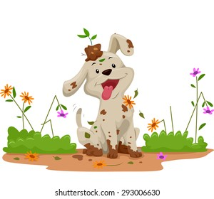 Illustration of a Cute Little Dog Making a Mess While Playing in the Garden
