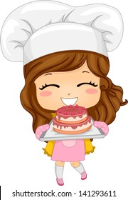 Illustration of Cute Little Girl Baking a Cake