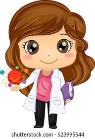 Illustration of a Cute Little Girl in a Laboratory Coat Holding a Book in One Hand and an Atomic Model in the Other
