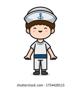 Illustration of cute men costume sailor vector The Concept of Isolated Technology. Flat Cartoon Style Suitable for Landing Web Pages, Banners, Flyers, Stickers, Cards
