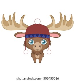 Illustration of a cute moose wearing a winter hat