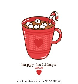 illustration of cute mug of hot cocoa or coffee with cream, candy and marshmallows with happy holidays text message. can be used for greeting cards