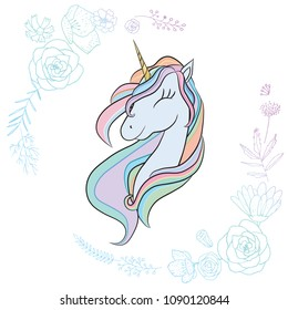 Illustration with a cute mystic unicorn animal. Magic, fantasy, party, children's game, learning the theme design element. Vector illustration