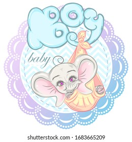 Illustration with cute newborn elephant boy. Can be used for baby t-shirt print, fashion print design, kids wear, baby shower celebration, greeting and invitation card.