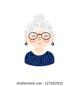 Illustration with a cute old woman with white hair and glasses. Grandmother cartoon character. Vector icon.