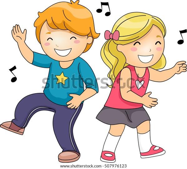 Ilustración de un par de niños pequeños que se desmoronan mientras bailan con energ�a