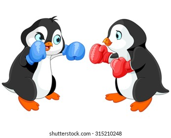 Illustration of cute penguin boxing