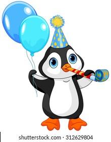 Illustration of cute penguin celebrating