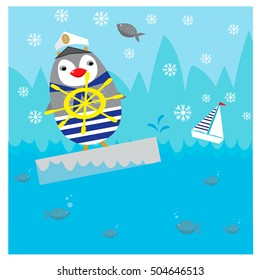 Illustration with cute penguin on the North Pole
