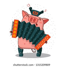 Illustration of a Cute Pig Musician