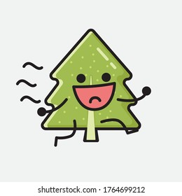 An Illustration of Cute Pine Tree Mascot Vector Character in Flat Design Style