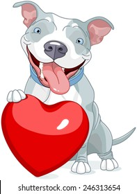 Illustration of Cute Pit Bull Dog holds heart