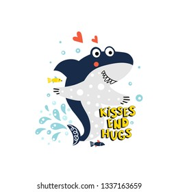 Illustration with a cute shark with fish and bubbles and text - kisses and hugs, isolated on a white background in vector.