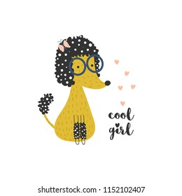 Illustration with a cute sitting yellow poodle in glasses with butterfly and hearts and text - cool girl. Vector illustration for children for print, poster or greeting card.