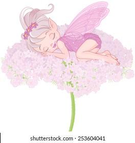 Illustration of cute sleeping Pixy Fairy