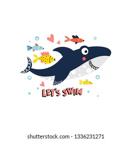Illustration with a cute smiling shark with fish and text - Let s swim, isolated on a white background in vector.