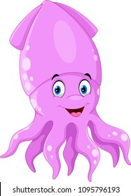 Illustration of cute squid cartoon isolated on white background