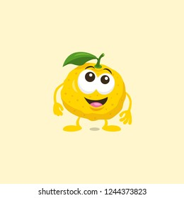 Illustration of cute surprised yuzu mascot with big smile isolated on light background. Flat design style for your mascot branding.