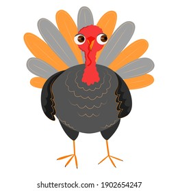 Illustration of a cute turkey in a cartoon style. Picture for children. Isolated on white. Vector.